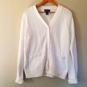 Lauren Ralph Lauren White Cotton Embroidered Cardigan
